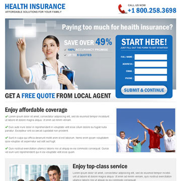 health insurance landing page
