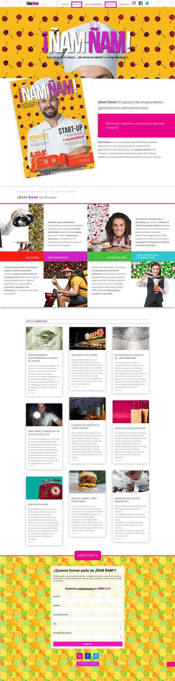 sitio web Emprendedores Ñam Ñam