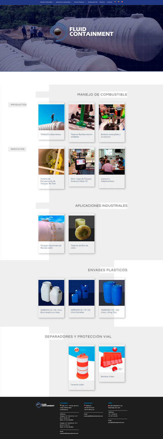 sitio web Fluid Containment website